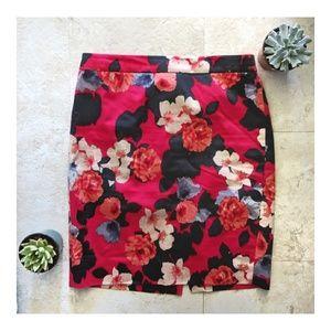J Crew factory peony print pencil skirt